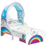 Unicorn Rainbow Toddler Bed with Storage and Canopy plus Deluxe Foam
