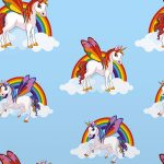 Rainbow Unicorns Wallpaper Blue 6304
