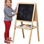 Wooden Easel Double Sided Black / White Board with Accessories