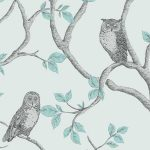 Woodland Owls Wallpaper Teal Fine Decor FD40638